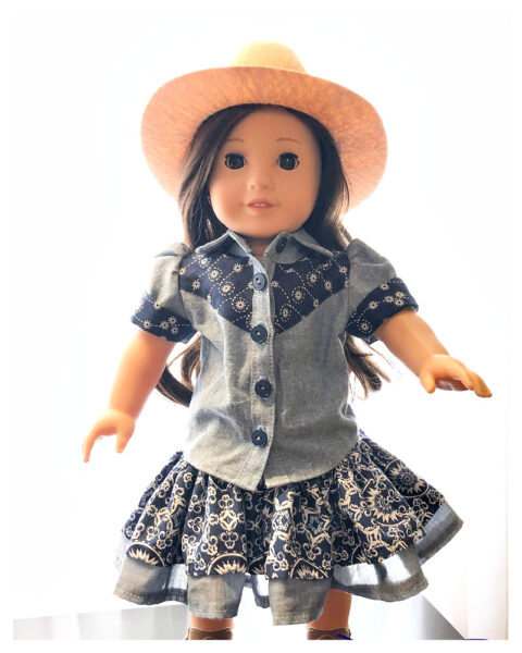 doll clothes, 18 inch doll, western blouse, Frocks & Frolics, frocks, frolics, Pixie Faire, American doll girl clothes, doll skirt